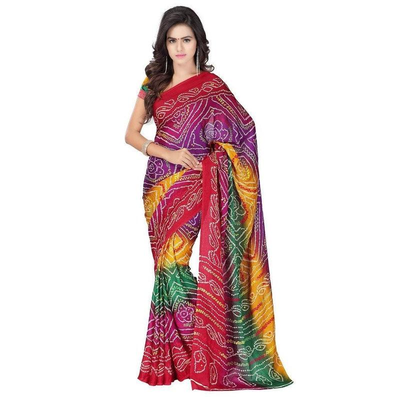 Traditional indian Bandhej Tie die Bandhani badi Chunari beatutiful Saree with blouse Jaipuri Party Wear Rajasthani multi color saree