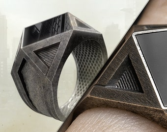 Unique Dystopian PERSONALIZED mens ring-Futuristic mens Signet Ring-Mens ONYX Ring-Dystopian Aesthetic-Statement Ring-HANDMADE Oxidized Ring