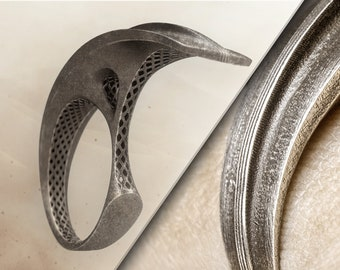 UNIQUE DUNE Ring-FUTURISTIC Statement Ring-Inspired by Frank Herbert-Sci Fi Aesthetic-Handmade Ring-Arrakis Collection-Dune 2021 Ring-Space