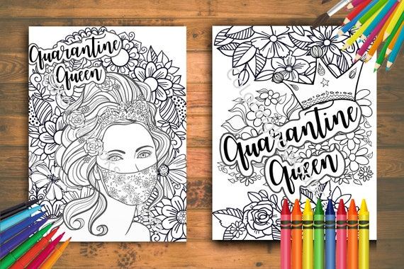 Social Distancing Printable Coloring Pages For Adults Woman Etsy