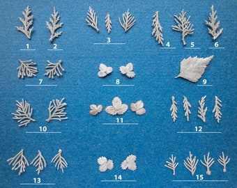 Jewelry making supplies for silversmith, Twig branch leaves castings in Sterling silver 925