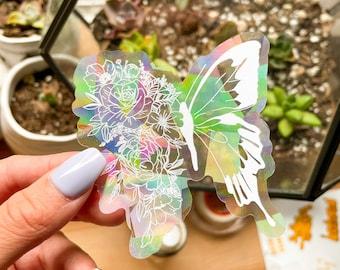 Floral Butterfly Suncatcher Sticker | Window Sticker | Rainbow Suncatcher Sticker | Rainbow Maker | Window Decal