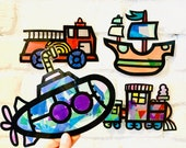 Transportation suncatcher kit - kids paper vehicles - stained glass tissue paper - homeschool activity - DIY arts and crafts - toddler craft