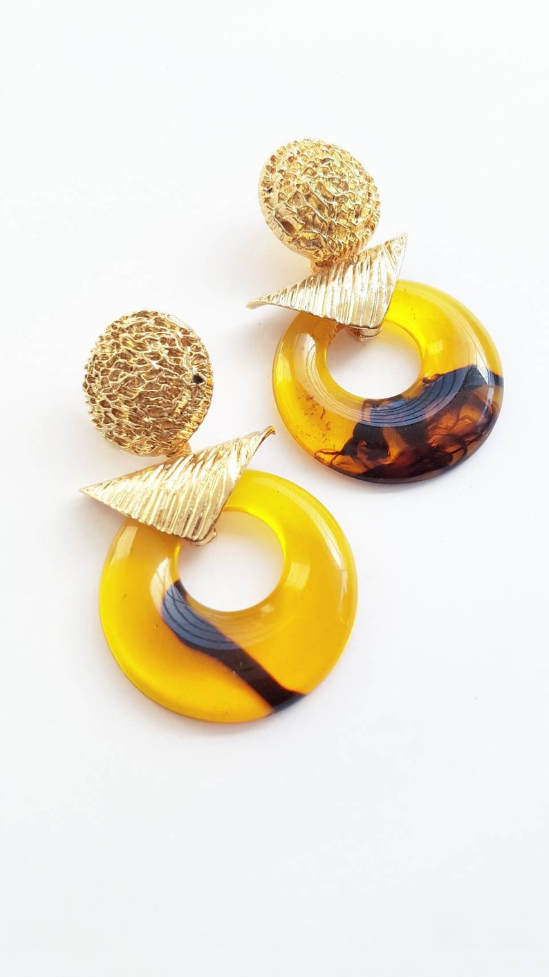 Retro Style Golden Big Earrings