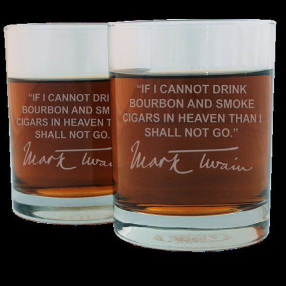 Mark Twain Famous Quote Etched Whiskey Glass Set