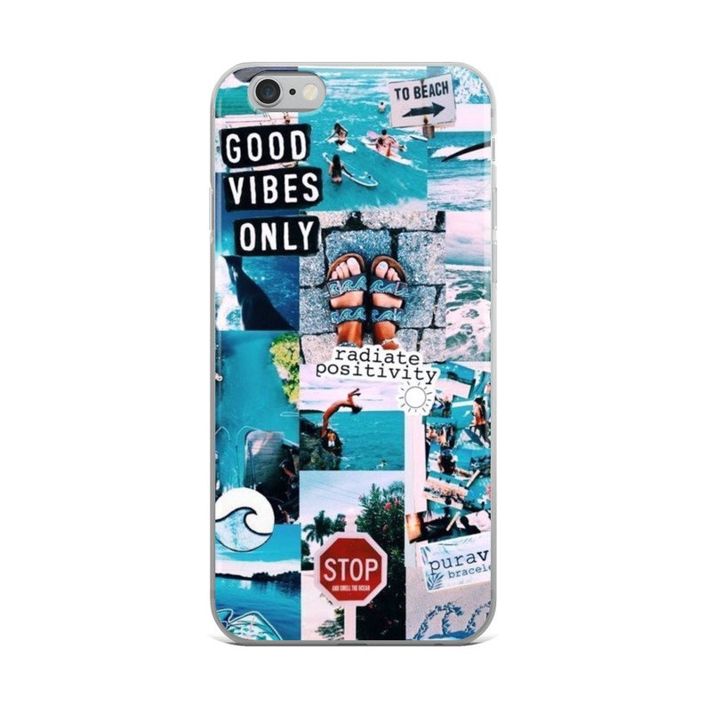 Good Vibes iPhone Case, Aesthetic Phone Case, Collage iPhone Case, Blue  Beach IPhone Case, Summer iPhone Case, iPhone 8 Case, iPhone 7 case,
