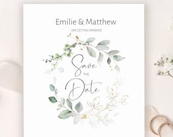 Greenery Save the date Template \u2022 Watercolor Modern Calligraphy \u2022 100/% Editable and easy to use \u2022 Printable Templett \u2022 Foliage Wreath