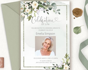 Celebration of Life Invitation Template, Funeral Invitation Template, White Floral Funeral Memorial Service Invite, INSTANT DOWNLOAD, F-BETH
