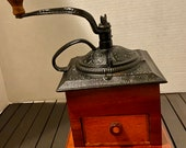 Antique Coffee Grinder Cherry Wood and Cast Iron Detailing