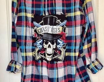 kids rock n roll Size 1218M ACDC Patched flannel reworked grunge band shirt distressed