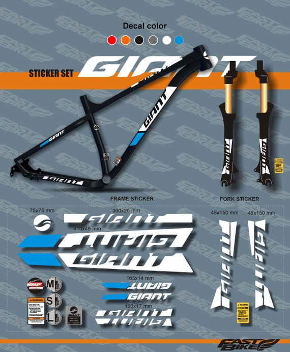 fork GIANT bike stickers bike frame sticker set ALL COLORS AVAILABLE