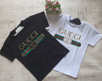 b3e1339a7 Kids Gucci classic for boy and girl Stripes Logo T shirt Gucci Italy  inspired t-shirt for children design for kids Stylish Gucci design