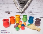Montessori Toy Ball and Pot Colour Sorting Game Toy Wooden Rainbow Waldorf Toys Montessori Materials Rainbow Sorting and StackingToy