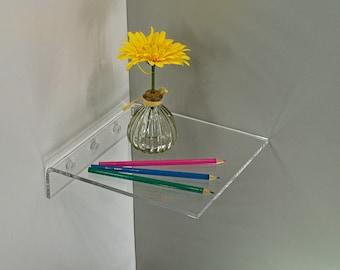 Square Corner Clear Acrylic Floating Shelf  - Fully customizable