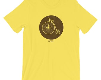 Retro Bicycle T Shirt, Hipster T-shirt, Bicycle Clothing, Antique Bicycle, Cycling Gift, Pennyfarthing bicycle T-shirt, Unisex T-Shirt