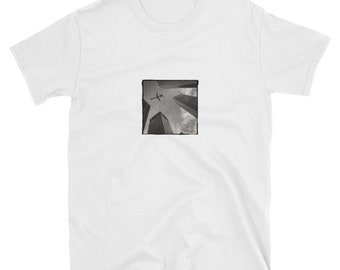 Houston Texas T-Shirt, Black and White Photograph, Airplane Over Buildings, Short-Sleeve Unisex T-Shirt