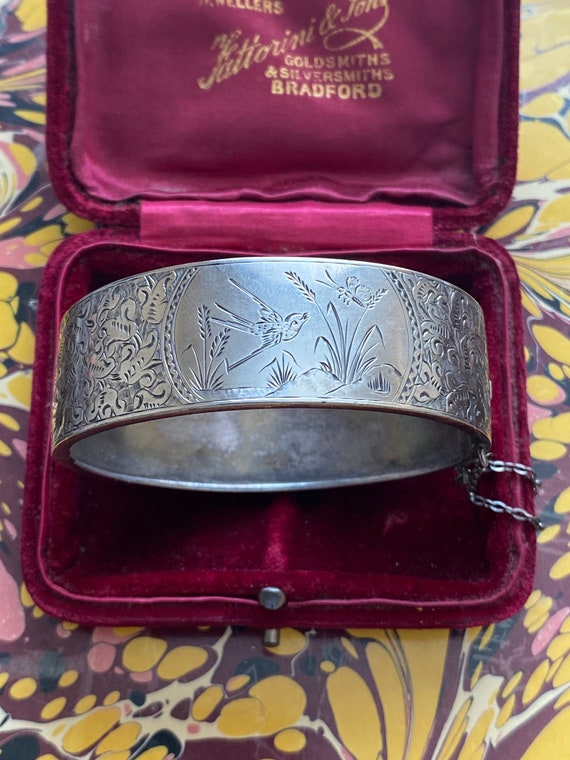 Victorian Aesthetic Hand Engraved Swallow Bangle