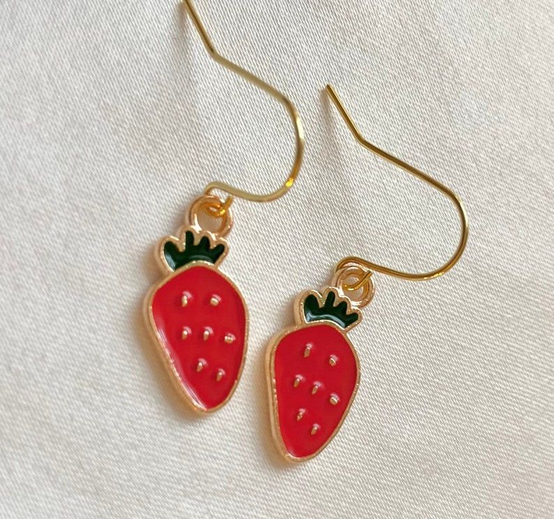 gold strawberry earrings