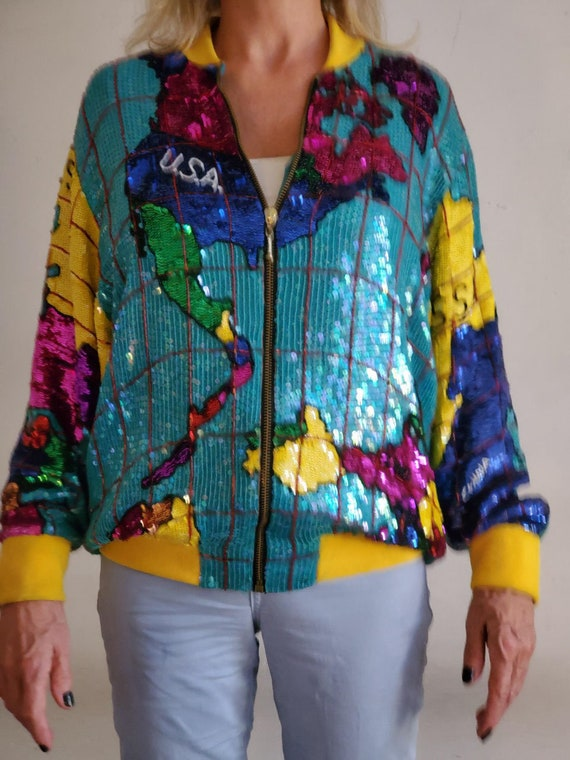 Price Reduction! VERY RARE!! The World Map Fully Sequined Bomber Jacket