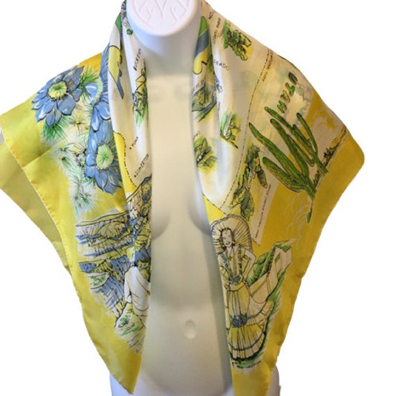 Arizona Souvenir Silk Scarf Vintage Large Colorfu… - image 6
