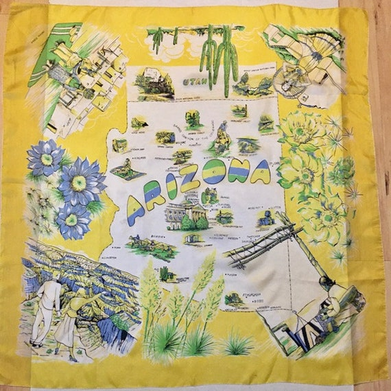 Arizona Souvenir Silk Scarf Vintage Large Colorfu… - image 1
