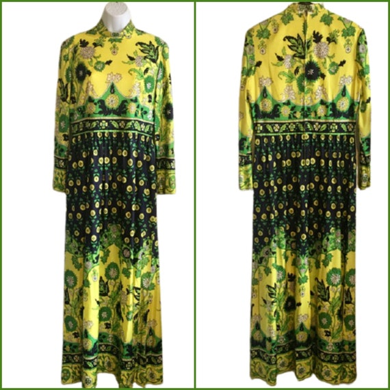 Carlye Dress Vintage 60's 70's Hostess Maxi Yello… - image 1