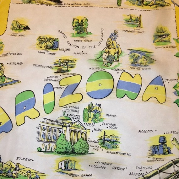 Arizona Souvenir Silk Scarf Vintage Large Colorfu… - image 2