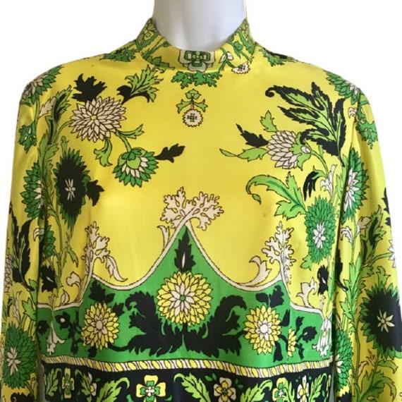 Carlye Dress Vintage 60's 70's Hostess Maxi Yello… - image 3