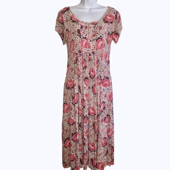 Rene Derhy Vintage Rose Print Midi Dress