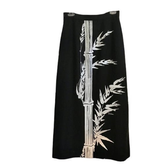 Alfred Shaheen Bamboo Print Maxi Skirt Vintage 196