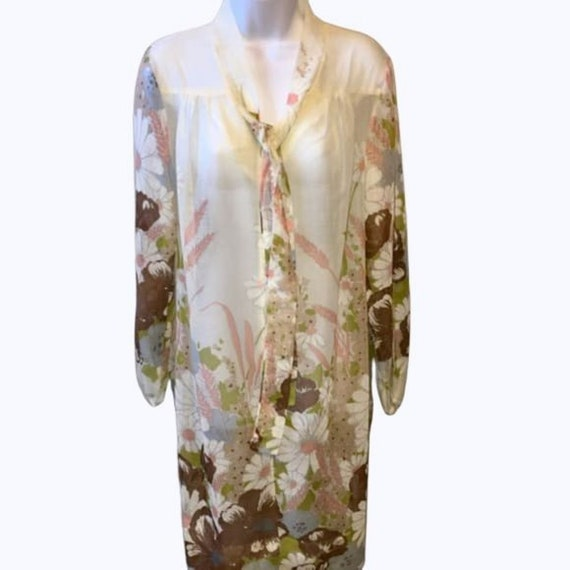 Vintage Floral Border Print Sheer Dress Tunic