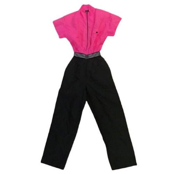 Dotti Jumpsuit Vintage 60s-70s Hot Pink Black Nylo