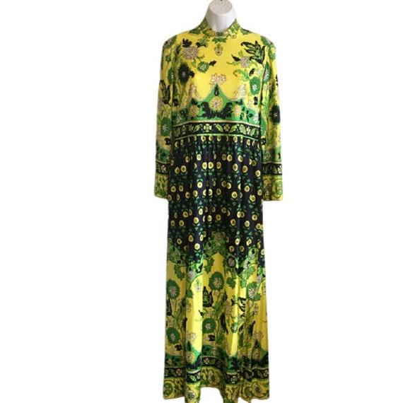 Carlye Dress Vintage 60's 70's Hostess Maxi Yello… - image 2