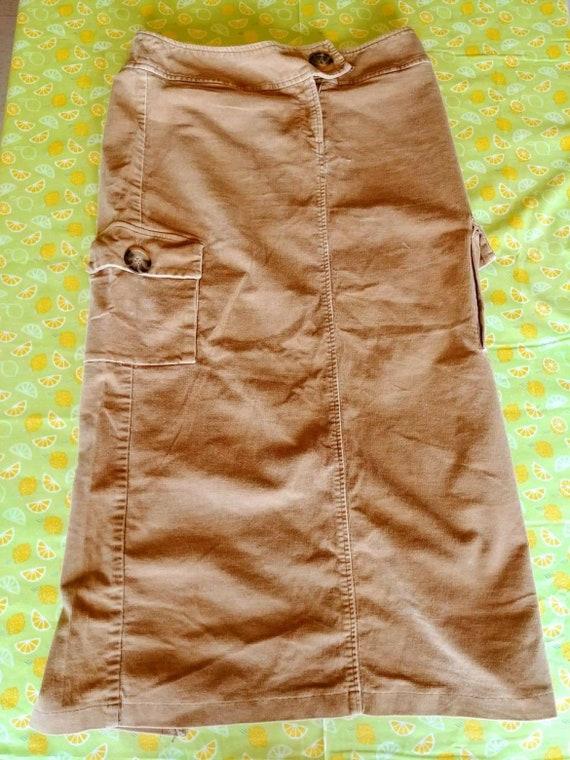 90s Corduroy Brown Maxi Skirt Size 10