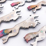 Sighthound Unicorn Magnet - Resin and glitter on MDF
