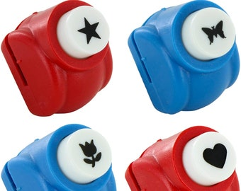 Paper Punch Shapes: Flower Heart Butterfly Star - Set of 4 Punches Scrapbooking Craft Supplies