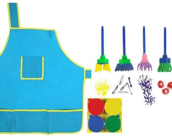 Art Set for Kids - Apron Sponge Brushes & Finger Paint Kit - Art Projects