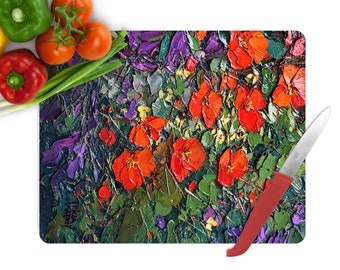 Cutting Board Red Flowers of Tempered Glass Chopping Board for Meat Cheese Bread (8 x 11 inches)