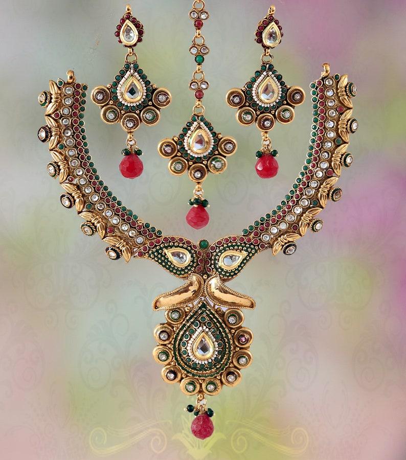 Fabulous Indian bridal polki jewelry set with Emerald and Ruby polki stones