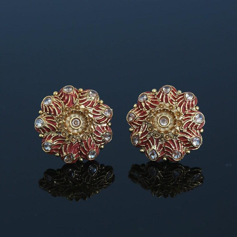 Kundan White Meena Floral Hand Painted Stud Earrings for Women