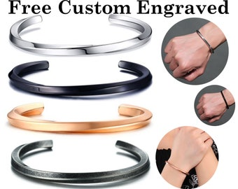 Personalised Mobius Infinity Nappa Leather Friendship Bracelet Hand Engraved Gift Mathematical Jewellery Unique Gift for Him /& Her
