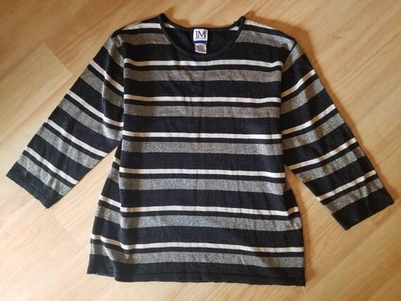 Vintage Metallic Striped Sweater