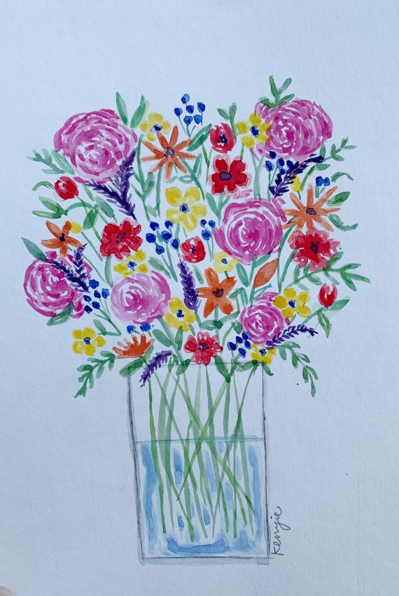 Water Color Flower Print/ Commission Etsy