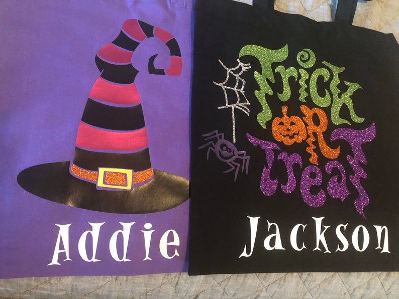 can be personalized with name Halloween trick or treat bag