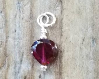 Wire Wrap Pendant Garnet Heart Charm Dangle January Birthstone Jewelry Bridesmaids Mom Sister Nana Friend Gift gd10 GARNET Pendant Charm