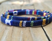 5mm Dark Blue Woven Cotton Cord, Native American Cord, Made in USA, Genuine Leather, Wrap Bracelets, Beading Supply