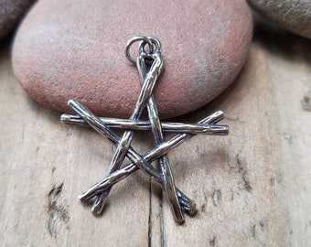 Silver Rustic Branch Pentagram Pendant, 31 x 28mm, Stainless Steel Rustic Twig Pentagram