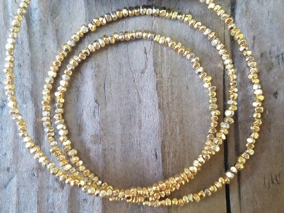 Beading Supplies Jewelry Findings 1.8 x 1.2mm Hill Tribe Gold Vermeil Style Faceted Seed Bead
