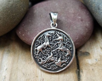 Sterling Silver Celtic Epona Horse Charm, 31mm, Celtic Charms