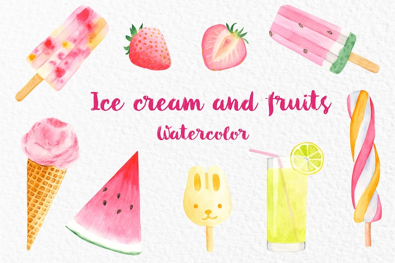 Watercolor ice cream and fruits Clipart  Illustartions of strawberries,  watermelon, lemonade elements set PNG files